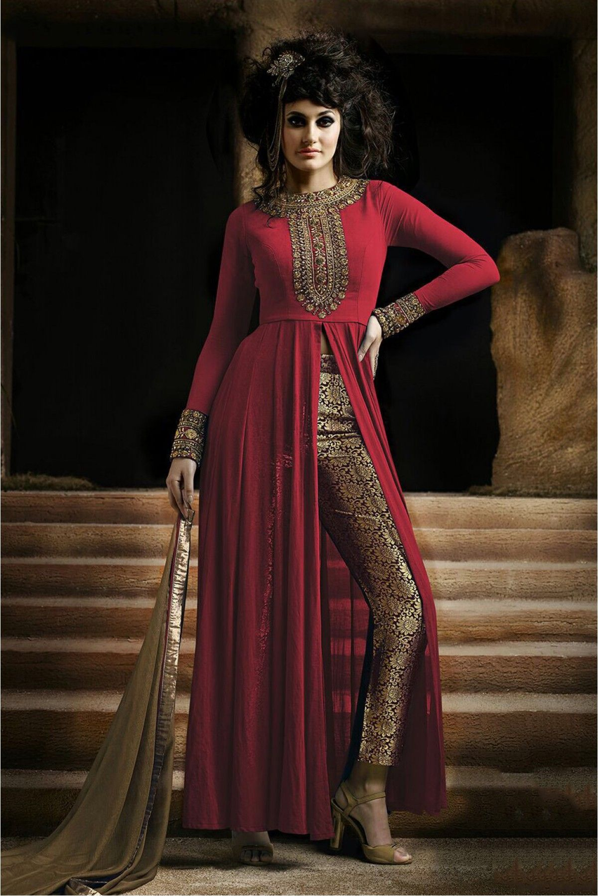 64b4fa10ca3 Nakkashi Georgette Semi Stitched Pant Style Suit In Red Colour