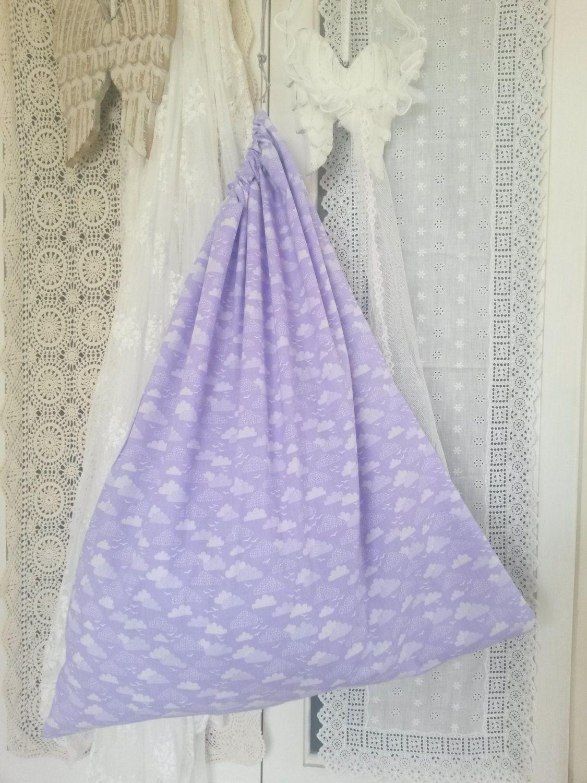 Laundry bag, cloud bag, pyjama bag, lingerie bag, draw string bag, purple bag, wash bag, underwear bag, gift bag, travel accessory, kids by ClarasHandMade on Etsy