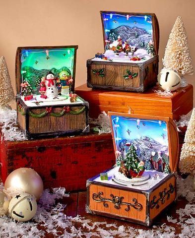 Christmas Music Box Santa Snowman Ice Skaters Animated 8 Classic - christmas clearance decor