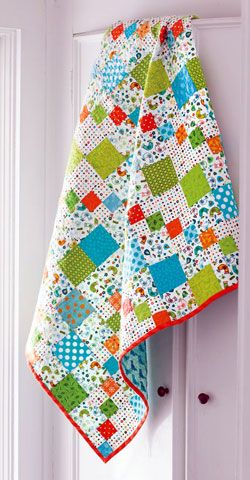 Designer Tonya Alexander paired one of her current favorite color combinations --aqua, green and orange -- with a cute bird fabric. The traditional Carrie Nationblock provided an excellent canvas for her vision. This quilt, Carrie Nation Baby, is fat-quarter friendly.