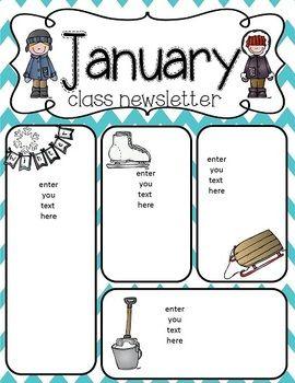 January Newsletter Freebie Free Classroom Newsletter Template