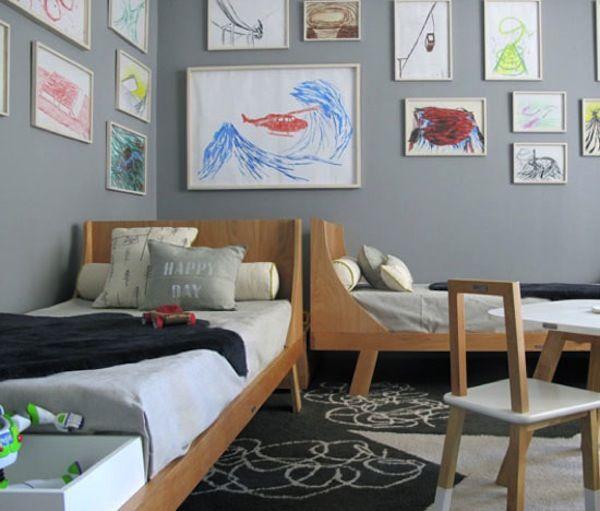 Shared Boys Geometrical Bedroom: Love The Wall Art Idea Shared Boys Rooms Via Shoes Off