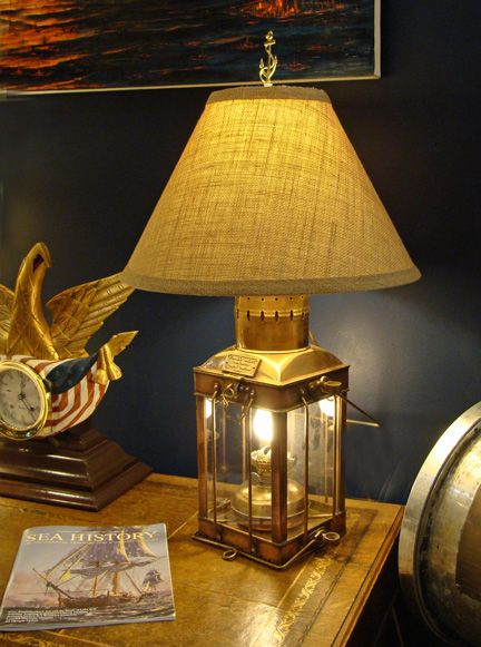 Vintage Copper And Brass Cargo Lamp Nautical Coastal Home Lighting Nautical Lamps Table Lamp White Lamp Shade