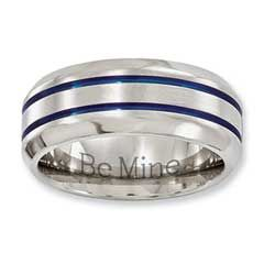 Zales Mens 8.0mm Half-Round Wedding Band in Sterling Silver (2 Lines) DRk65iFDe9