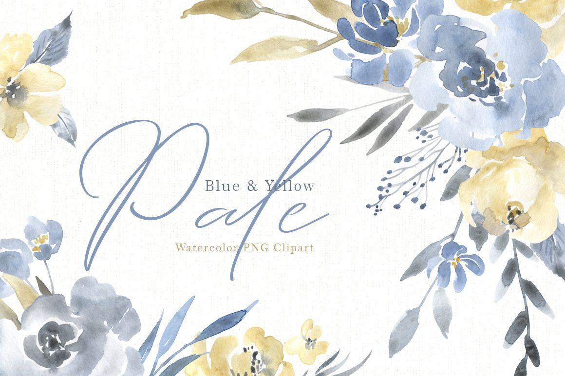 Watercolor Pale Dusty Blue Yellow Grey Flowers Png 140292 Illustrations Design Bundles Watercolor Flowers Watercolor Illustration Grey Flowers