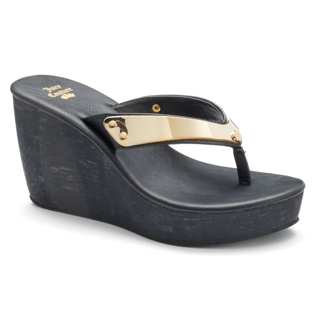 7ac9d59ab30700 Juicy Couture Women s Wedge Thong Sandals