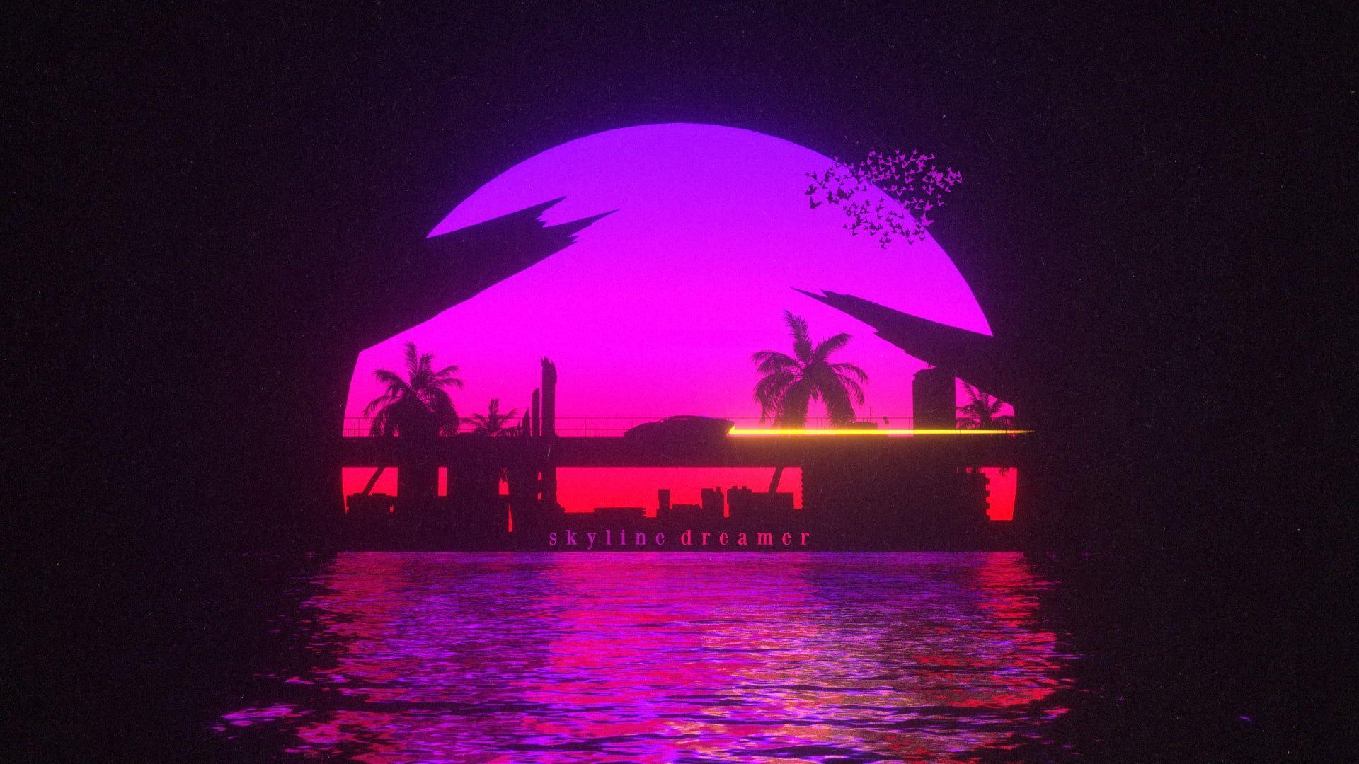 Sunset The Sun Water Auto Bridge Music Machine Style Wallpaper Widescreen Wallpaper Wallpaper Retro Waves