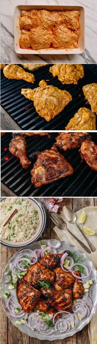 Grilled Tandoori Chicken with Indian-Style Rice #tandoorichicken