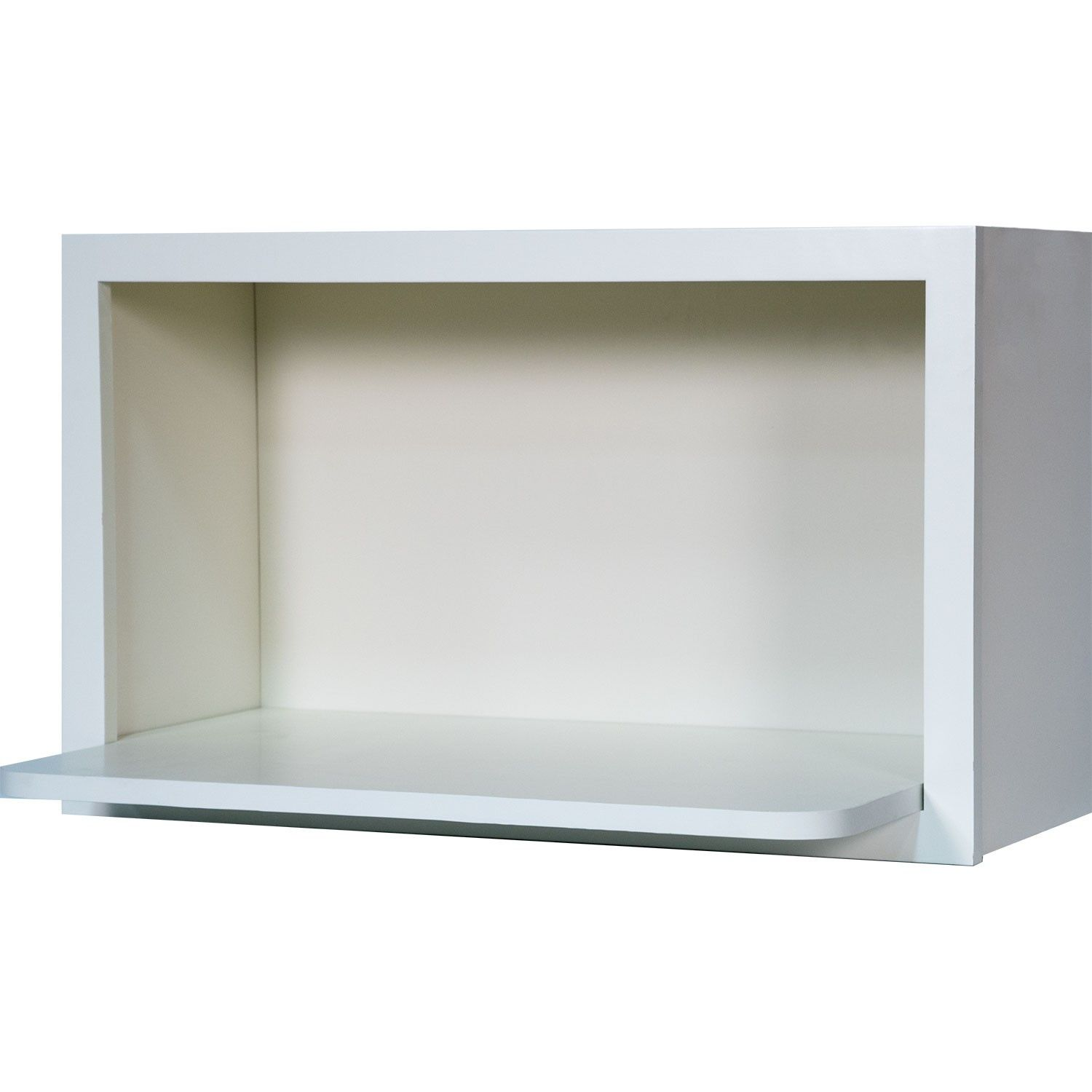 30 inch microwave shelf wall cabinet in shaker white 30 for Kitchen cabinet shelves