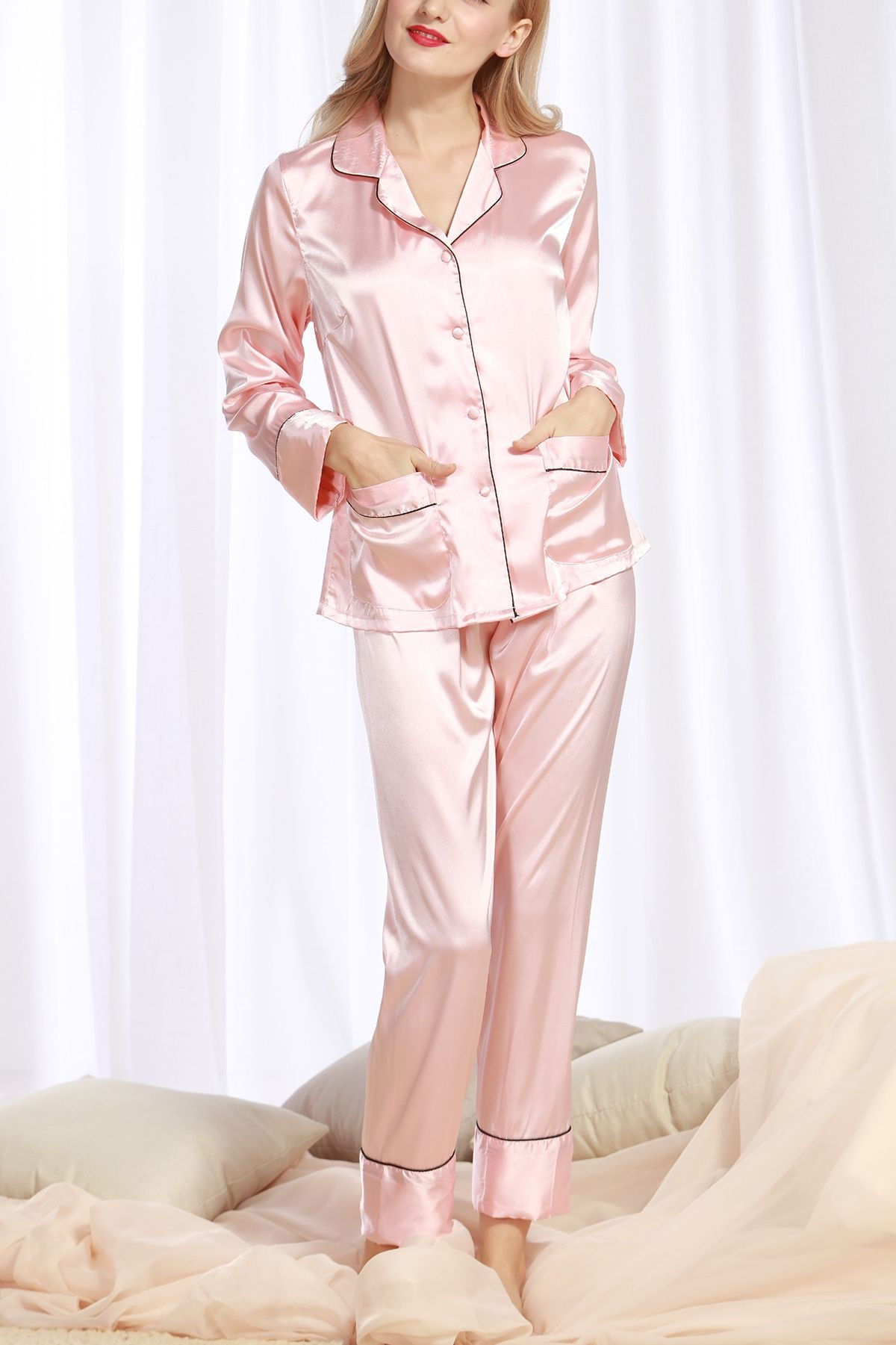 Womens  HomeService  PajamasWithButton  Silk  Nightwear  TwoPiecesSet c78688659