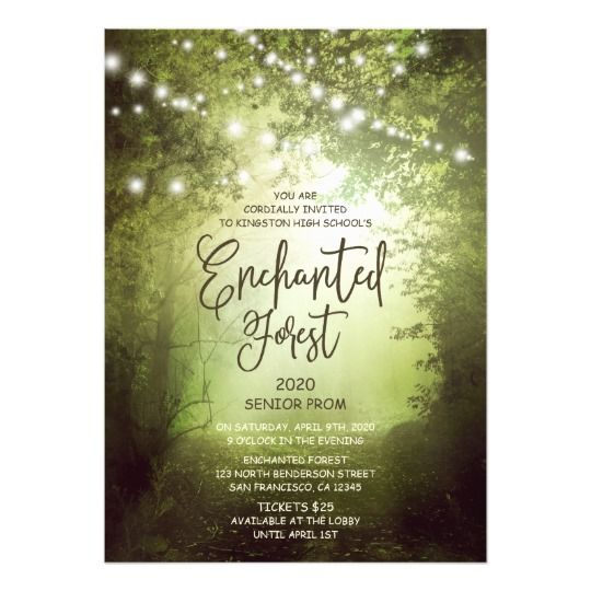 enchanted forest prom invitation string lights
