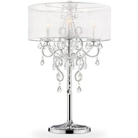 35 Evangelia Crystal Table Lamp Walmart Com In 2020 Crystal Table Lamps Chrome Table Lamp Lamp