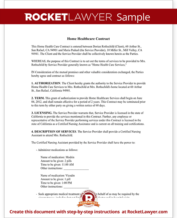 Home Health Care Contract Agreement Template (with Sample)  Heads Of Agreement Template Free