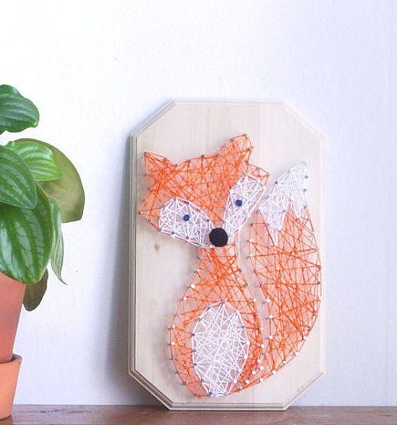 kit diy renard string art cr er kit incluant le mat riel et le tutoriel d coration cadeau. Black Bedroom Furniture Sets. Home Design Ideas