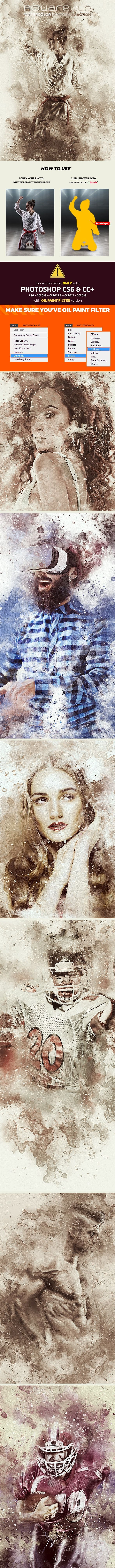 Aquarelle Watercolor Photoshop Action Photo Effects Photoshop