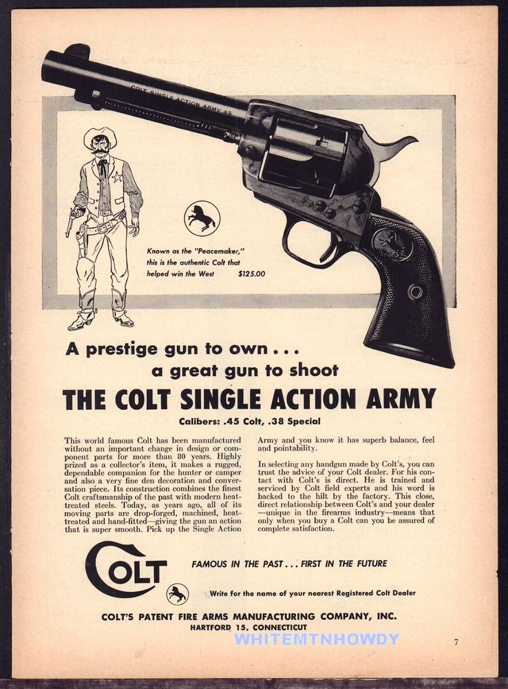 1957 COLT Single Action Army .45 & .38 Special Revolver PRINT AD ...
