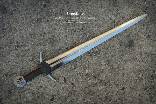 "14th Century ""BENEDICTUS"" Oakeshott Type XIV Sword by Maciej Kopciuch. Overall length-33.5"" Blade length-35"" Grip-3.9"" Blade width~2.6"""