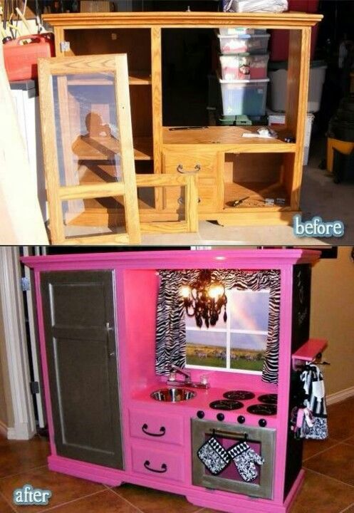 Entertainment center to entertainment center...:-) What an awesome idea! Since most of these entertainment centers are becoming outdated with the new flat panel TVs, this is a phenomenal repurpose.