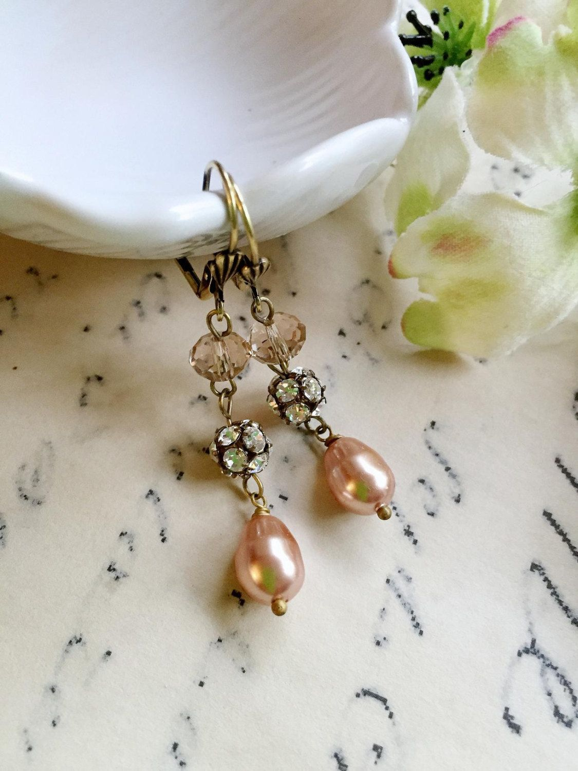 Rose Gold Pearl Earrings Peach Crystal Dangles  Bridesmaid Earrings  Vintage Style By Blueartichokedesigns On Etsy