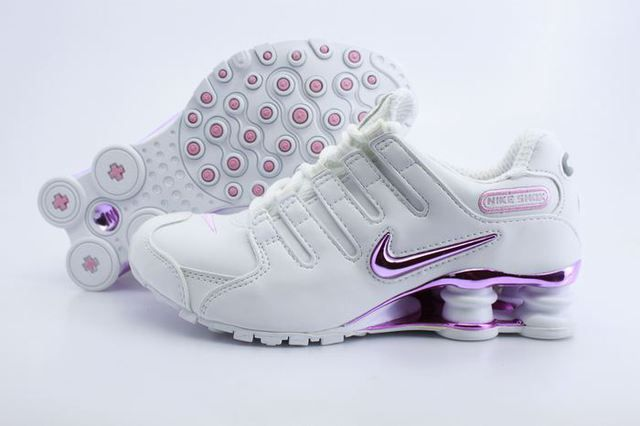 Womens Nike Shox NZ White Silver Pink Logo Shoes, Cheap nike shox for Women