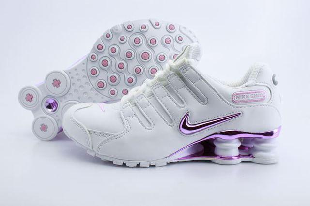 wholesale dealer 2cfaa 2d46c Womens Nike Shox NZ White Silver Pink Logo Shoes, Cheap nike shox for Women