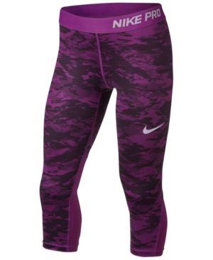 37c80fe1 Nike Pro Capri-Length Leggings, Big Girls (7-16) - Purple XL ...