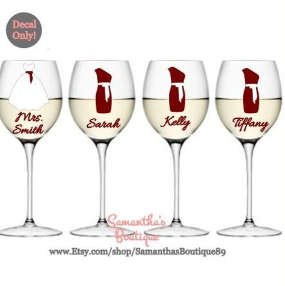 DIY Custom Wedding Party Dress Wine Glass par SamanthasBoutique89