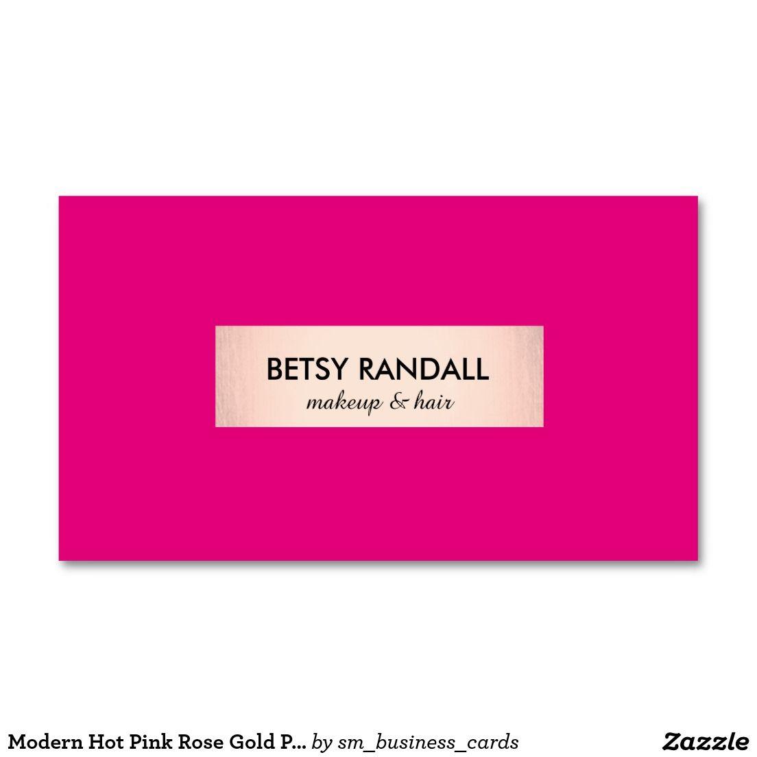 Modern Hot Pink Rose Gold Plaque Beauty Salon Standard Business Card ...