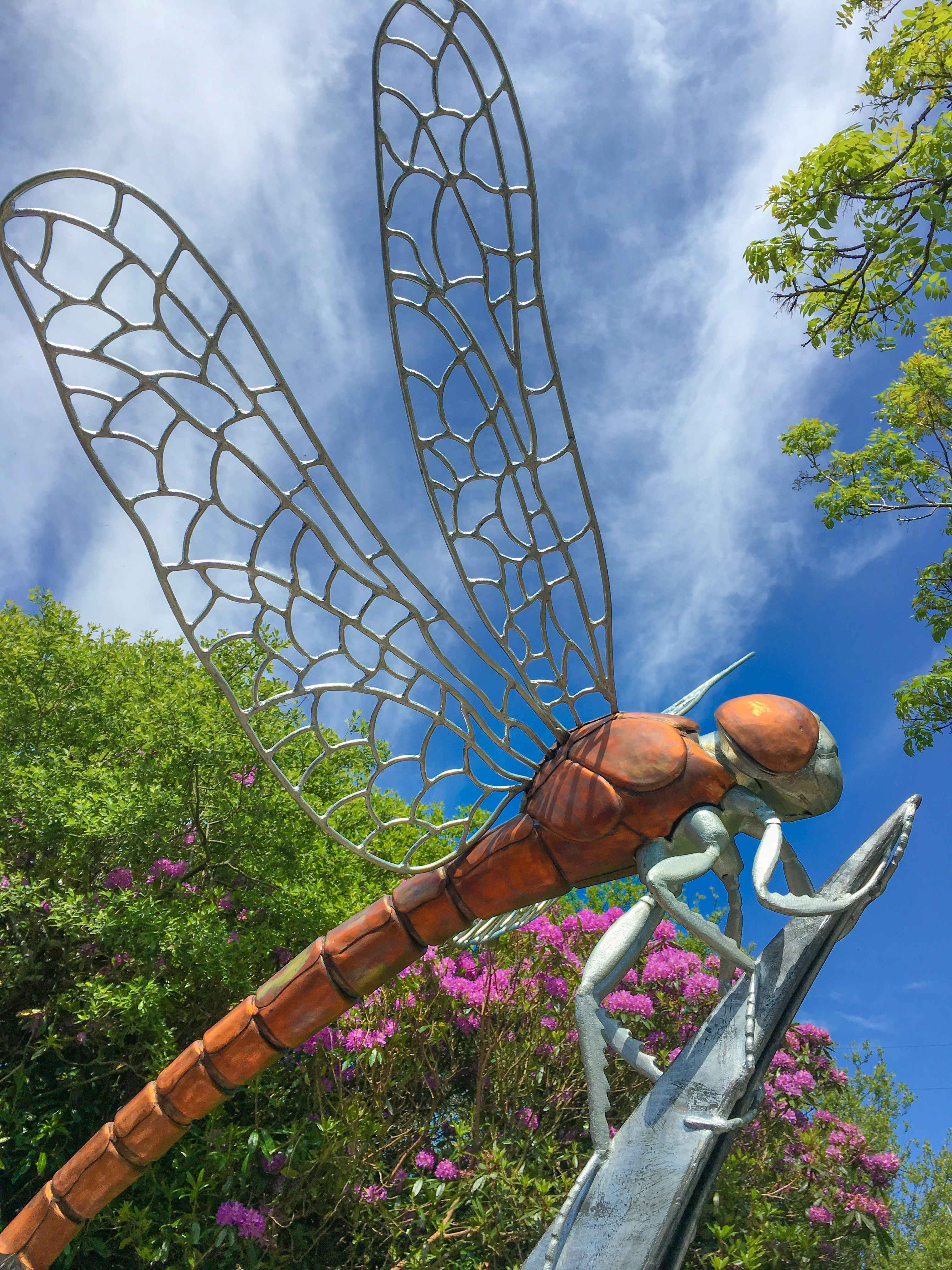 Giant Dragonfly sculpture made of copper and galvanized steel with a 1.5m long…