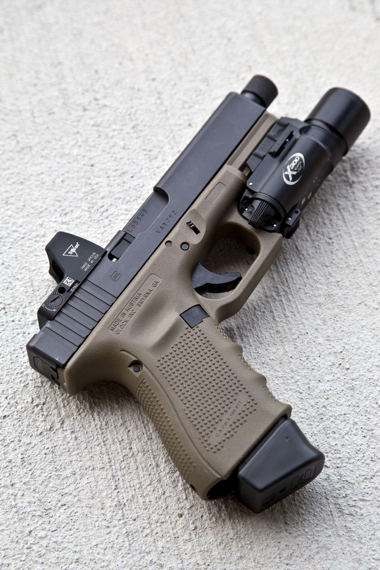 FDE Glock 19 Gen 4 + Trijicon RMR + Surefire x300 | Guns and Knives ...