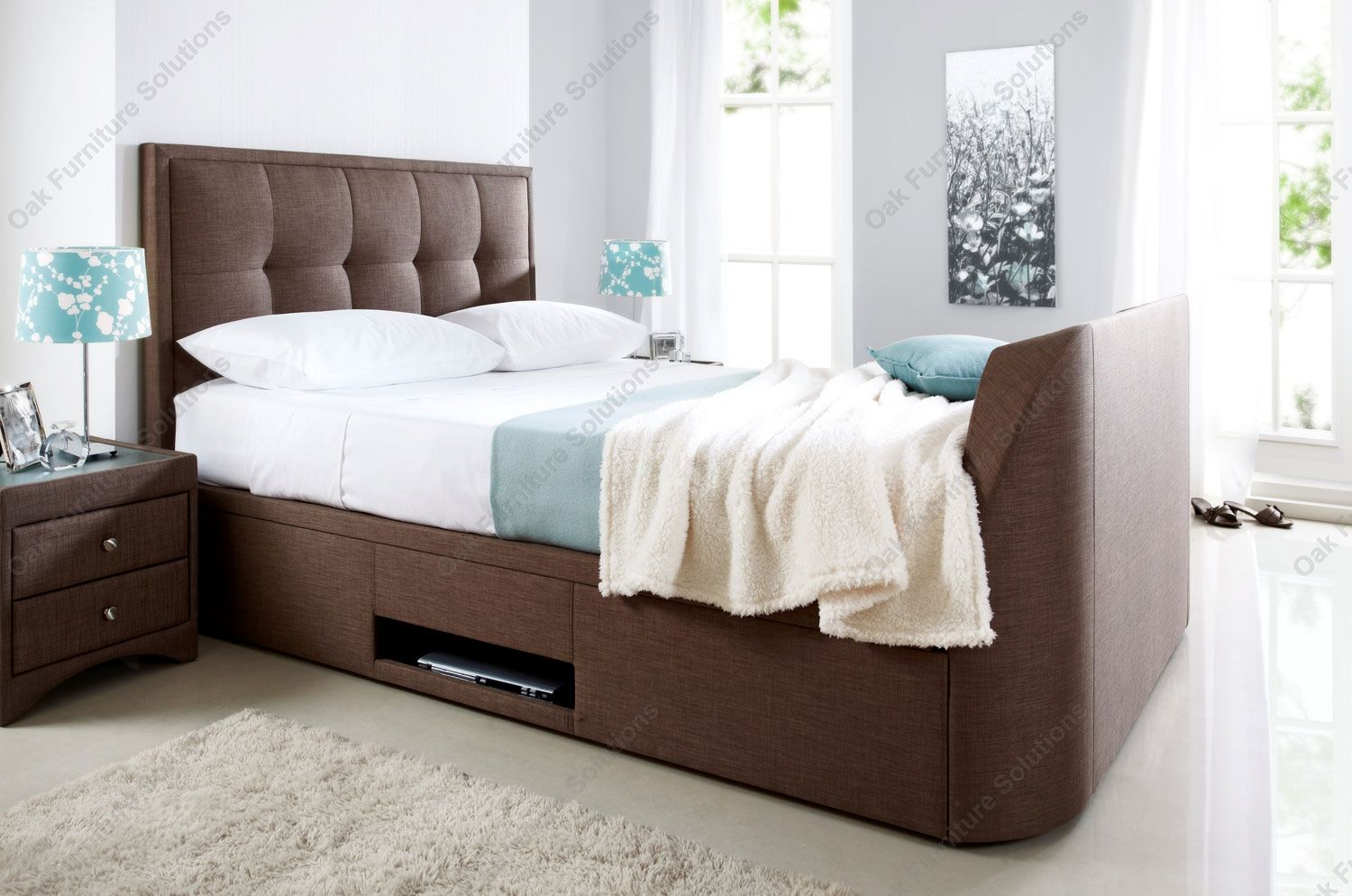 Kaydian Windermere Cappucino Fabric Ottoman Storage TV Bed
