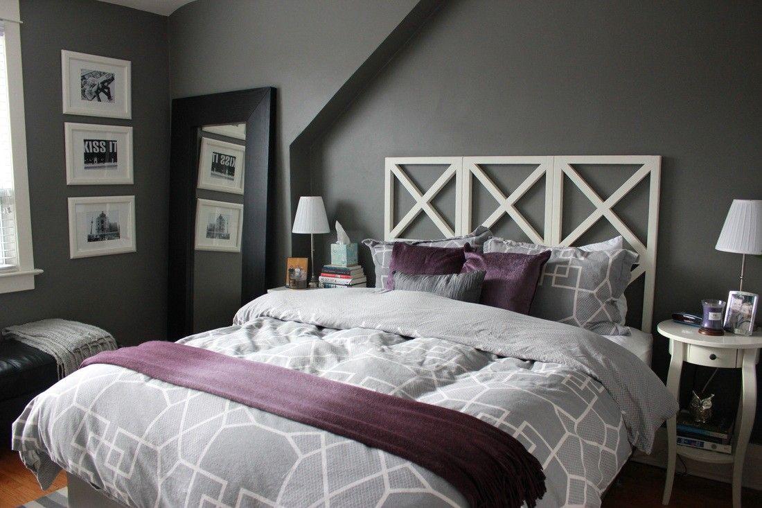 Bedroom Makeover Gray And Plum Walls Google Search Grey Bedroom Decor Grey Master Bedroom Decorating Ideas Purple Gray Bedroom