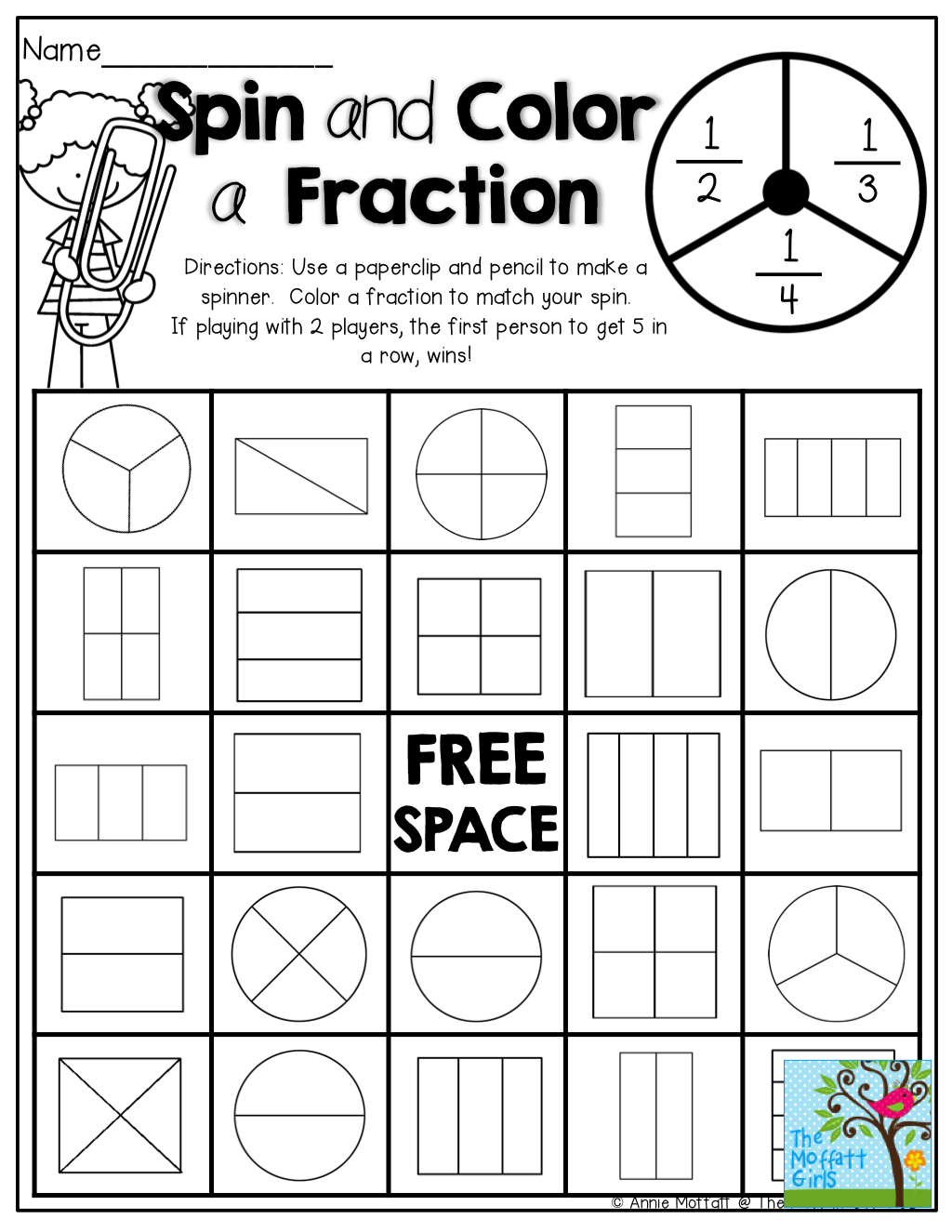 Simple Fractions NO PREP Packet Spin, Math and School
