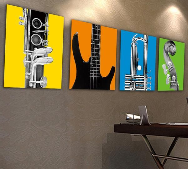 Colourful Musical Instruments Oil Painting Canvas Gift Ideas For Musicians Simple Oil Painting Guitar Wall Art Oil Painting Texture