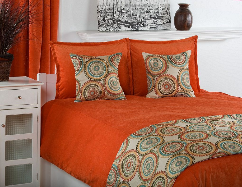 Great Pretty PC Victor Mills Crete Pumpkin Poly Velvet King Comforter Bed Set  Product Photo