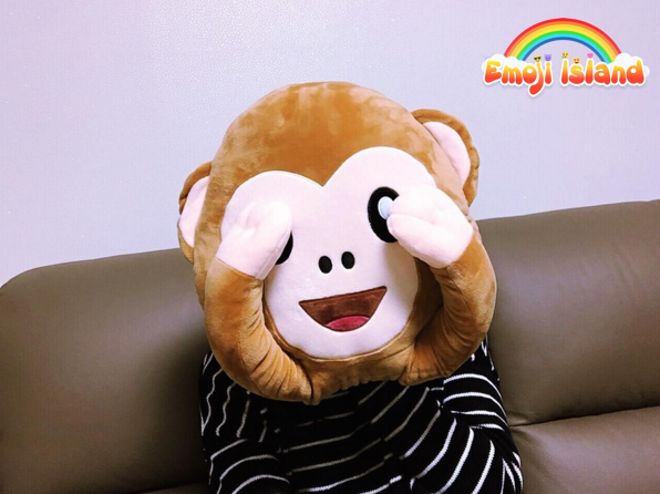 Our Customer Making Shy Face With Monkey Emoji Pillow Monkey Pillow Monkey Emoji Pillow Emoji Pillows