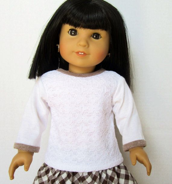 Long Sleeved Lace T-shirt American Girl Doll by JellibeanLane