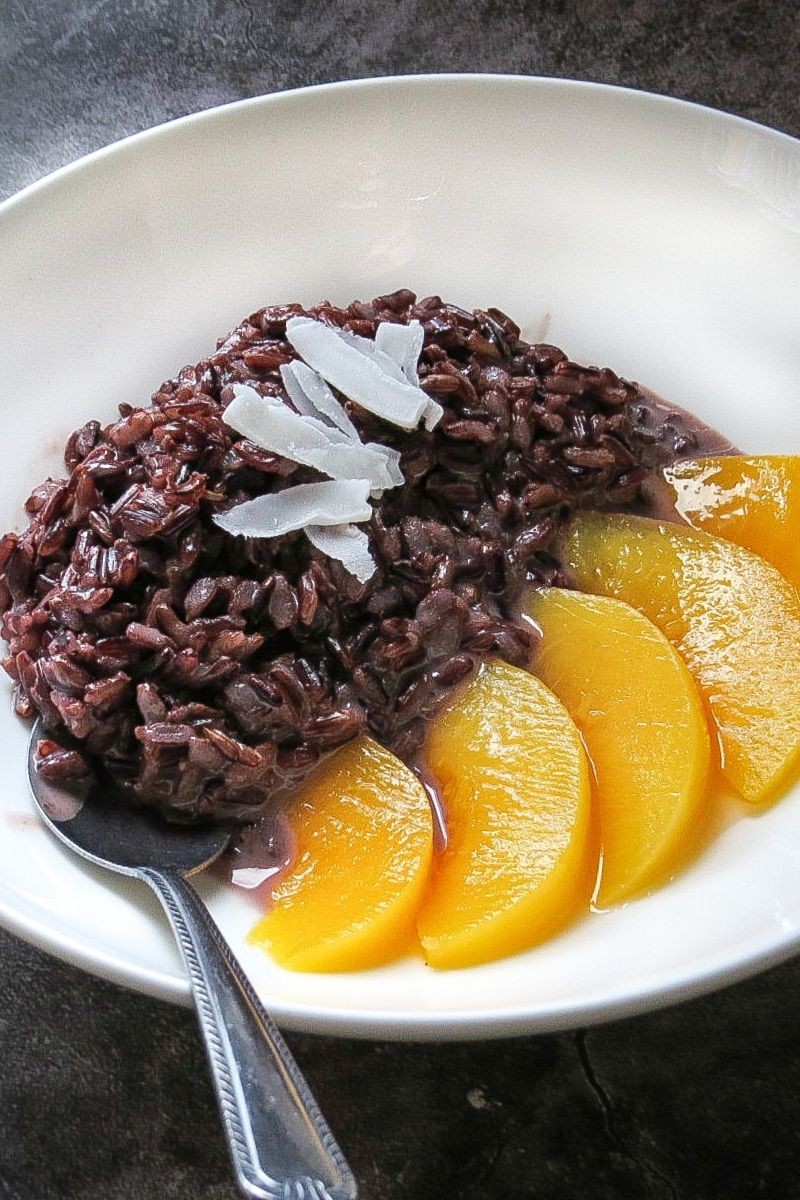 Black sticky rice pudding with coconut milk is an easy to ...
