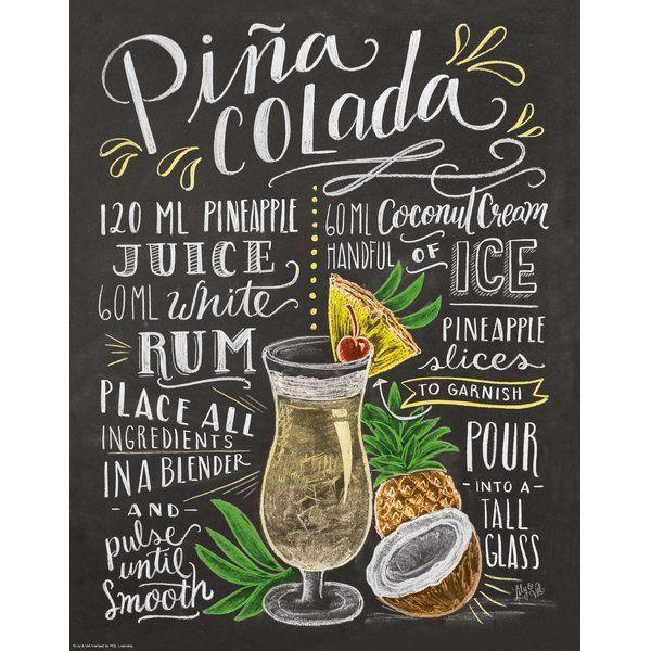 Pina Colada Graphic Art Print Pina Colada Colada Pina Colada Recipe