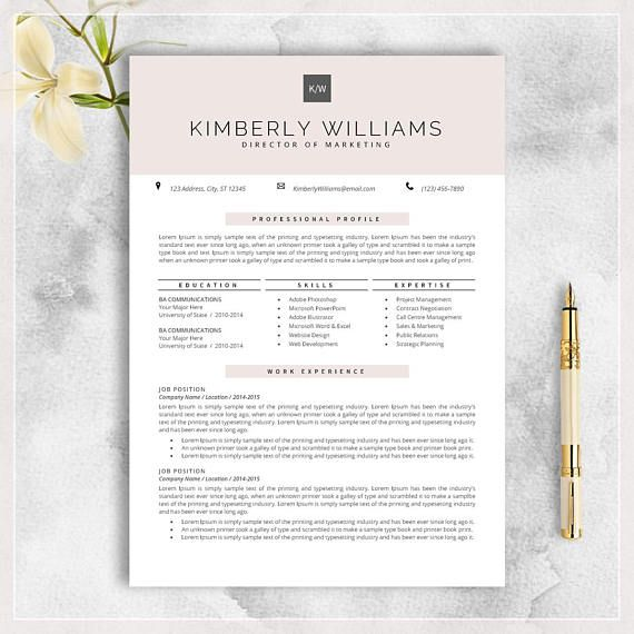 Professional Resume Template CV Template for MS Word career