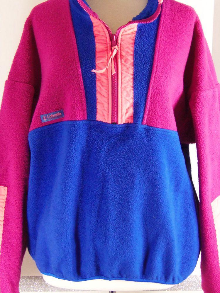 Columbia Vintage Fleece 3/4 Zip Pull over Blue, light purple, neon, Men's Large #Columbia #FleecePullover34Zip