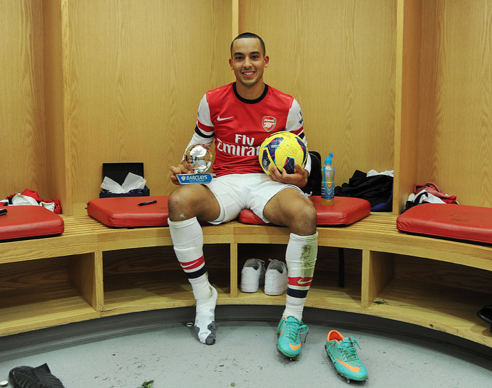 Hat Trick Hero Theo Walcott Holds The Man Of The Match Trophy And The Matchball Ars 7 Newc 3 29 Dec 2012