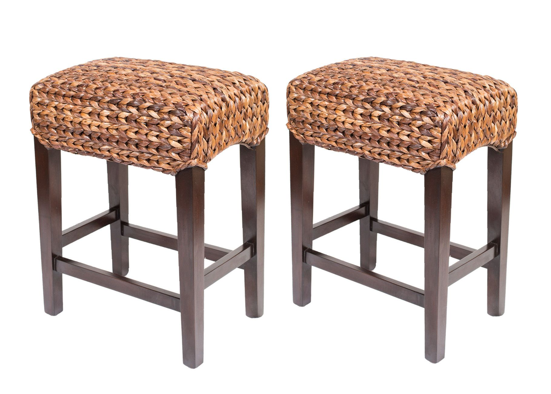 Birdrock Home Seagrass Counter Stool Set Of 2 Counter Stools Backless Counter Stools Bar Stools