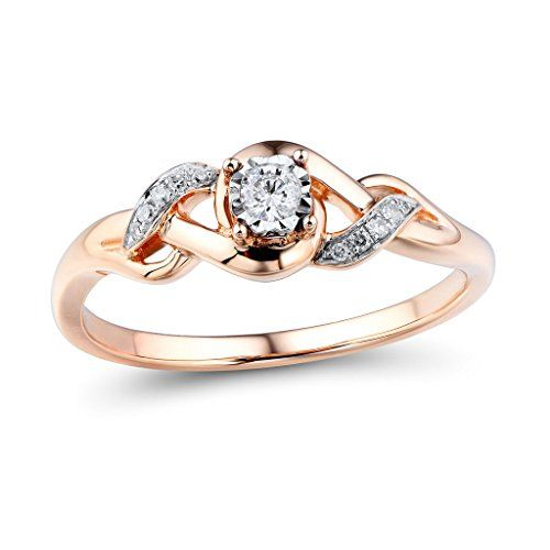 Diamond Promise Ring In 10k Rose Gold And Rhodium Plated 10k White Gold 1 10 Cttw Hi I2 Promise Rings For Her Braided Wedding Rings Vintage Engagement Rings
