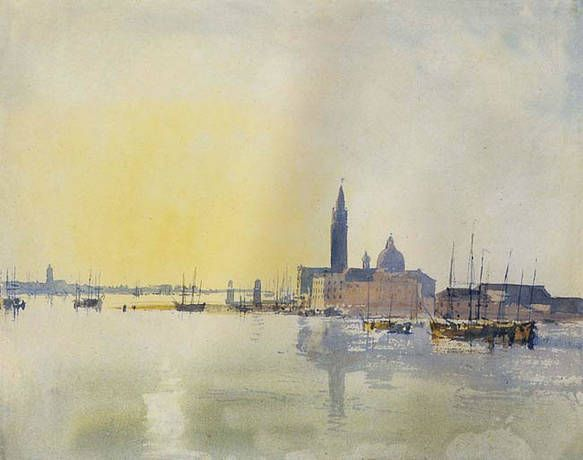 Valter Henry Watercolor The Old Rathaus Moselle 47x32cm