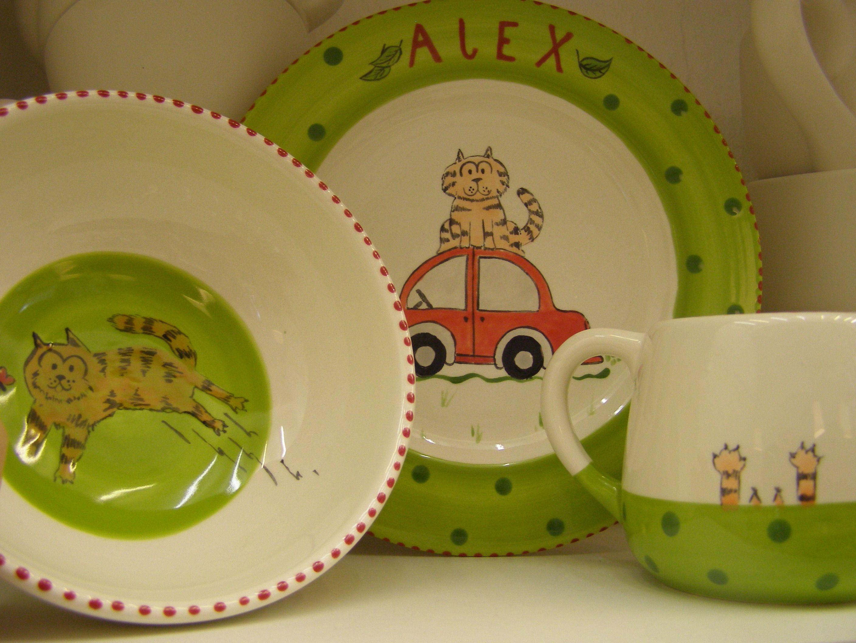 Geschenk Zur Taufe Handbemalte Keramik Geschirr Für Kinder