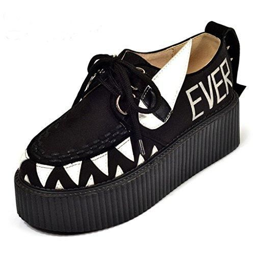 RoseG Mujer Zapatos Plataforma Cordones Creepers Negro Flor Size38 RnzMGRE