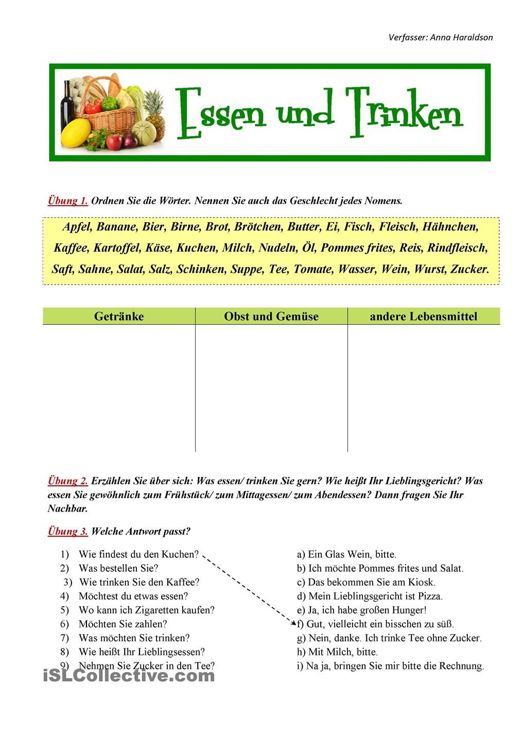 Essen und Trinken | German, Deutsch and Worksheets