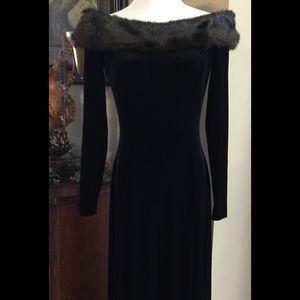 HaboZoo Womens Velvet Boat Neck Sleeveless Princess Evening Dress