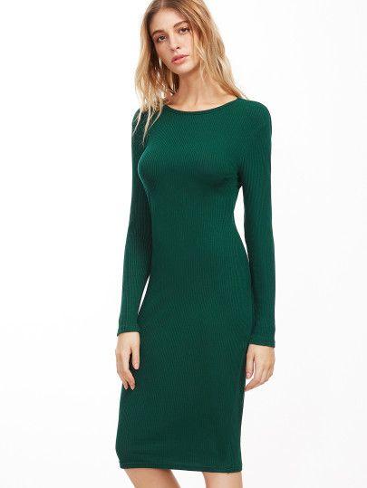 993dd0e481 Vestido de tubo de manga larga - verde oscuro